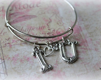 I love you, I Heart You,  Bracelet, Bangle, Charm, Dragonfly, Crystal, Unique, Trendy, Silver, Darling, Women, Youth, Girls, Birthday
