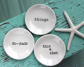 Small Round Dishes with things, this & that, Dishes to Organize