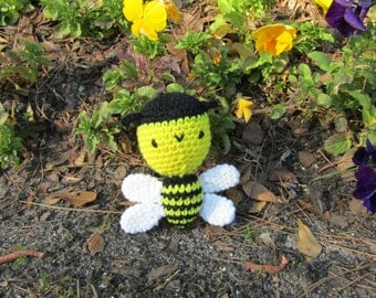 Baby Bumblebee in Plush Crochet - Soft Toy Bumblebee, Amigurumi Bumble Bee, Stuffed Toy Bee