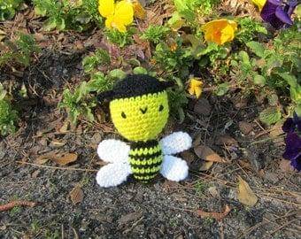 Baby Bumblebee in Plush Crochet. Soft Toy Bumblebee. Amigurumi Bumble Bee. Soft Stuffed Toy Bee. Kawaii Crochet Bumblebee. Ready-to-Ship