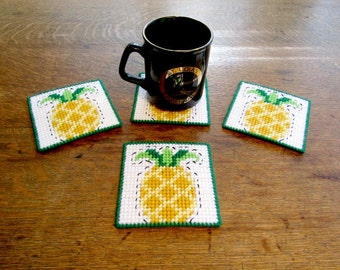 Pineapple Beverage Coasters Set. Drink Coasters with Pineapple Design. Pineapple Mug Rugs. Tabletop Coasters. Hostess Gift. Ready-to-Ship