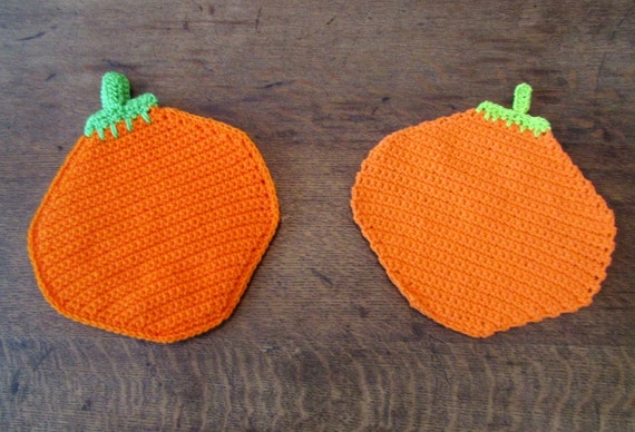 Pumpkin Kitchen Combo. Pumpkin Potholder. Pumpkin Dishcloth. Autumn/Fall Harvest Time Decor. Kitchen Decor. Ready-to-Ship