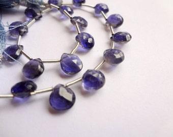 5mm Natural Iolite Faceted Teardrop Briolette Gemstone Beads, 11pcs