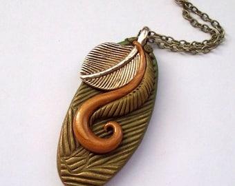 SUMMER SALE Autumn Elegance Polymer Clay Pendant Necklace