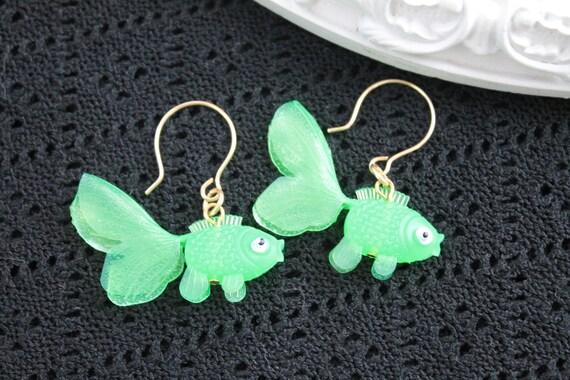 Dangling goldfish  earrings cute kawaii kitsch lolita green fish