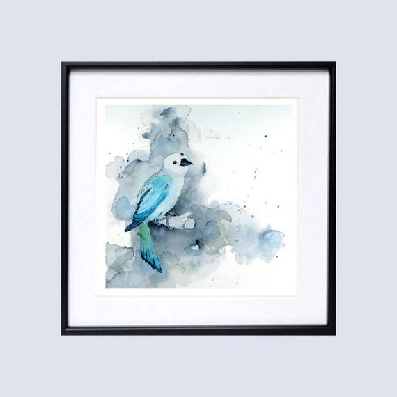 1. Jungle Bird Art - Original Watercolor Painting -  Turquoise animal art Woodland bird painting Wildlife Nature Bird lover aqua, 9.5x9.5 OR
