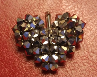 Handwoven Silver Swarovski Crystal Heart Pendant
