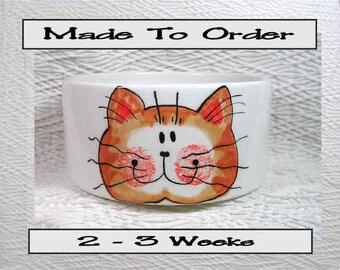 Ginger Tabby Medium Cat Bowl Paw Prints Inside 20 Oz. Ceramic Handmade By Gracie