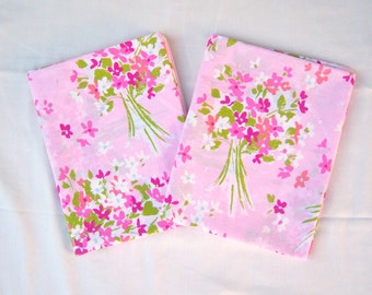 Pink floral pillow cases / TWO / 60s 70s bed pillowcases / Burlington House / standard size