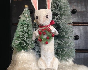 WINTER SALE Woodland rabbit with trees