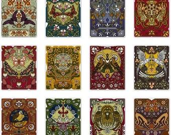 Set of 12 Nature Panel Cross stitch pattern PDFs Flora and Fauna Art Nouveau