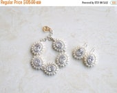 27% Off Sale Bridal Bracelet and Earrings Set CZ Pearl Silver GB3Set Pearl Jewelry
