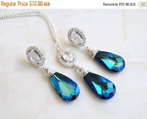 27% Off Sale Earrings Necklace Set Swarovski Peacock Blue Teardrop Silver CZ BE18BlueSet
