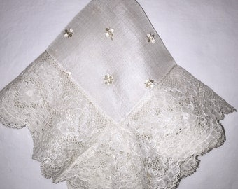 Vintage White Silk Lace Bridal Hanky - Hankie Handkerchief