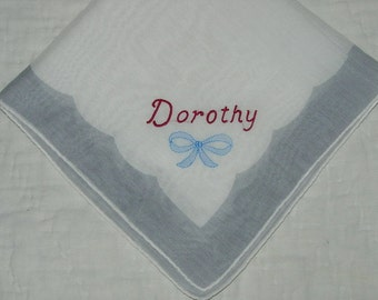 Vintage White and Gray Hanky with Dorothy Embroidered in One Corner - Hankie Handkerchief
