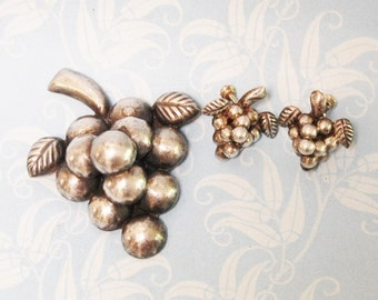 Vintage Mexican Silver Grape Cluster Brooch and Earrings Set 1940s 50s