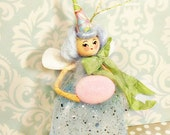 Easter pixie Easter fairy Easter ornament doll party decor ooak art doll spring decor pink blue green vintage retro inspired