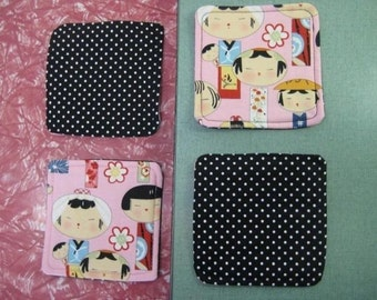 Drink Coasters - Set of 4 - Pink Kokeshi Japanese Dolls