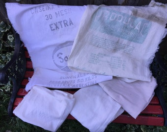Lot of 5 Vintage Muslin Feedsacks Some with Writing and Two Are Still Sacks