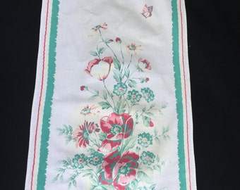 Vintage Teal and Red Butterflies and Floral Print Kichen Towel