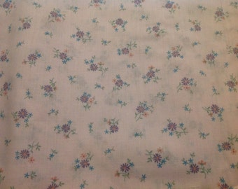 4 Yards of Vintage Purple, Pink and Blue Small Floral Print Cotton Fabric