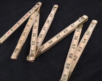 Wonderful Old Wood Creamy White Folding Lufkin Tape Measure Extension Ruler