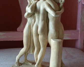 The three graces statue plaster statue greek statue greek mythology goddess  statue vintage garden statue vintage statue greek goddess