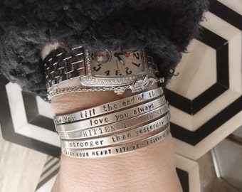 handstamped cuff bracelets - handmade one letter at the time - jewelry - SimaG