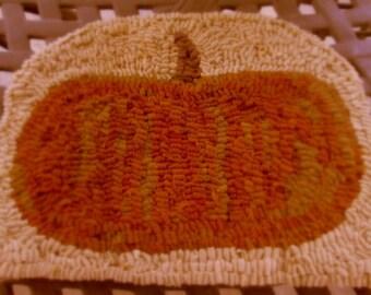 Pumpkin Hooked Rug, Chair Pad