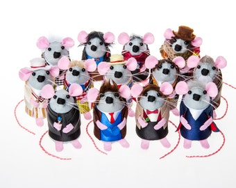 FULL SET of 13 Doctor Who Mice artisan felt mouse rat mice hamster cute gift for dr who fan collector