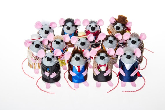Full SET of 13 Doctor Who Mice gift for husband boyfriend dad granddad brother uncle artisan felt mouse rat mice hamster dr who fan