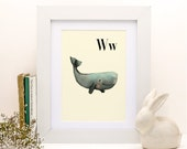 W for Whale -8x11- Alphabet art - Alphabet print - ABC wall art - ABC print - Nursery art - Nursery decor - Kids room decor - Children's art