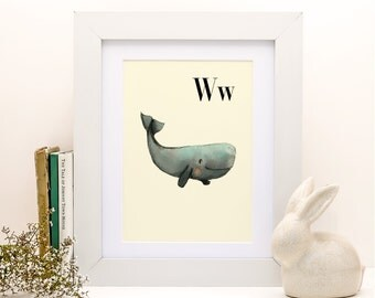 W for Whale -8x11- Alphabet art - Alphabet print - ABC wall art - ABC print - Nursery art - Nursery decor - Kids room decor - Children's art