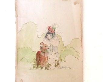 Llama and girl Portrait, Original drawing, watercolor, ink on paper