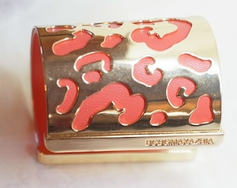 BCBG Wide Cuff Bracelet = Gold With Coral Leather - Adjustable - Excellent - Vintage Wide Cuff Bracelet Max Azria