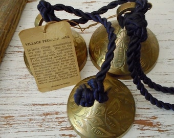 Bells of Sarna from India 1947 3 bells on rope with tag, 68T -1, 2, and 3 vintage brass ornaments