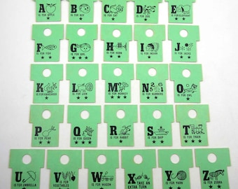 Vintage Green Alphabet or ABC Game Pieces with Letters Words and Pictures Set of 26