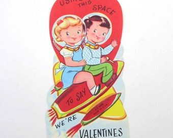 Vintage Children's Novelty Valentine Card with Space Boy and Girl Astronauts on Rocket Ship Space Travel