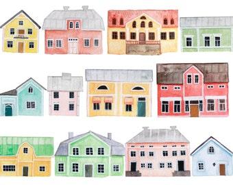 Scandinavian House Print - Watercolor art - Finnish Houses print - Giclee