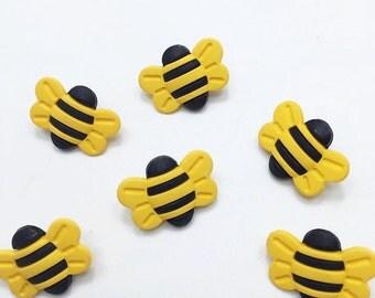 14pcs of Yellow Bumble Bee Shank Button  - Matte
