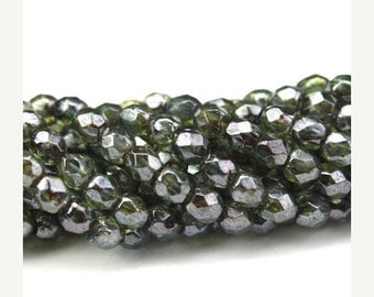 50% Off Sale Czech Glass Beads Fire Polished Faceted Rounds 3mm Luster Transparent Green (50) CZF487