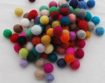 100% Wool Felt Balls - 1cm - 100 Count - Assorted Colors