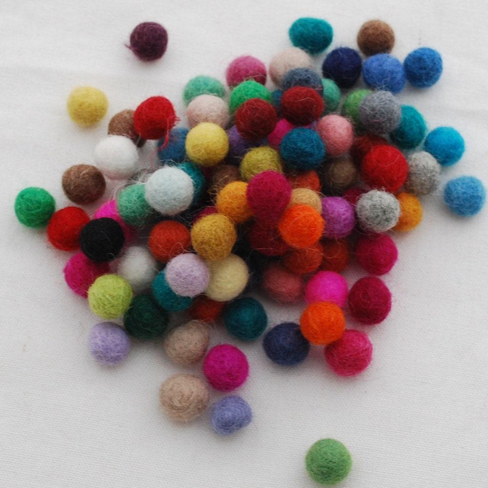 100 wool felt balls 1cm 100 count assorted colors. Black Bedroom Furniture Sets. Home Design Ideas
