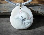 Sleepy cat Necklace, fused glass pendant, kitten jewelry,white cat,