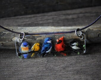 RESERVED for Sharon Beautiful birds necklace - fused glass pendant - mixed birds on a tree branch- cardinal-  shallow- robin- finch