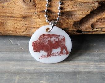 Buffalo necklace  - Fused glass pendant - sepia