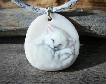 Sleepy cat Necklace, fused glass pendant, kitten jewelry,white cat,