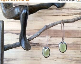 SALE Olive Green Oval Dangle Earrings, Oval Drop Earrings, Copper Enamel, Mossy Green, Green Chandelier Earrings
