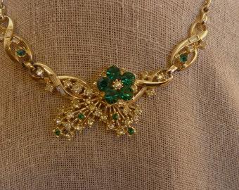 Vintage Goldtone Green Rhinestone Necklace