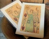 Blue Fraktur Angel - LIMITED EDITION Folk Art Notecards - from Notforgotten Farm™
